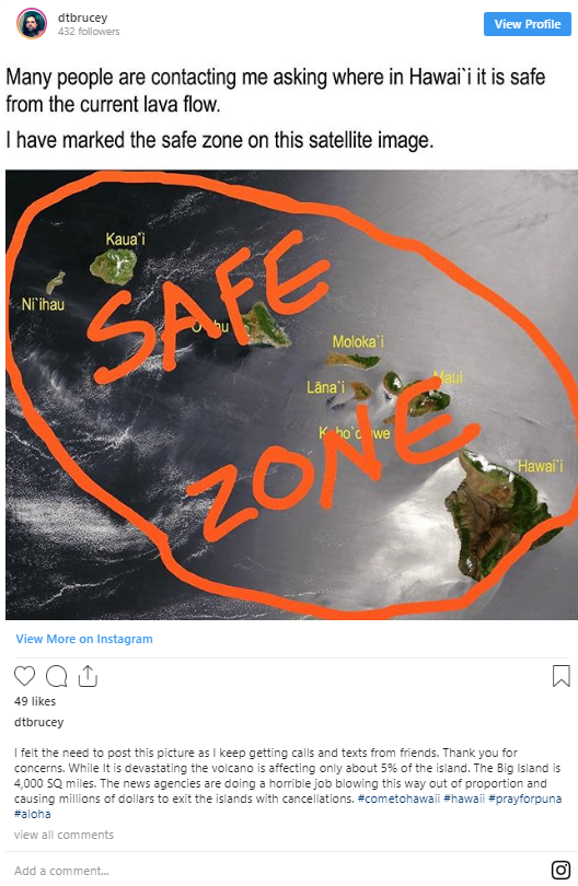Image of @dtbrucey's instagram post on 'Safe Zone' during Lava Eruption